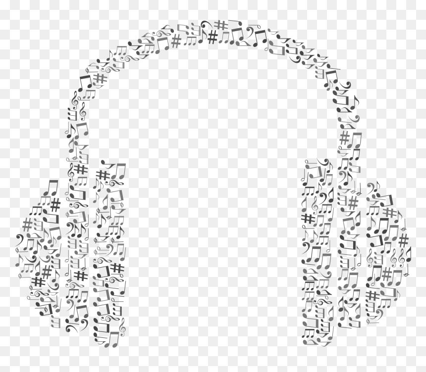 Musical Notes Headphone Grayscale Clip Arts - Headphone Music Vector Png, Transparent Png