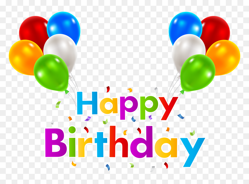 Happy Birthday Png Clip Art With Balloon - Happy Birthday Balloons Transparent Background, Png Download