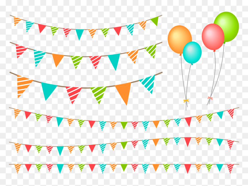 Birthday Party Decoration Items Vector Png Image, Color - Birthday Decoration Png Free, Transparent Png