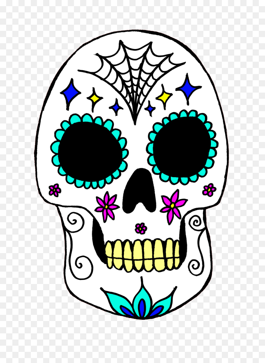 Calavera Skull Day Of The Dead Art Costume - Day Of The Dead Art Png, Transparent Png
