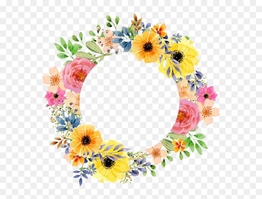 Vintage Round Floral Frame Png Transparent Image - Flower Border Vector Png, Png Download