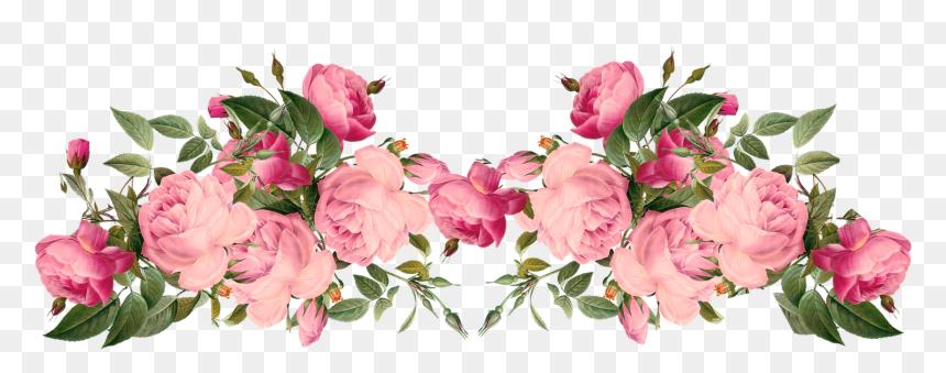 Pink Rose Border Png - Transparent Pink Floral Border, Png Download