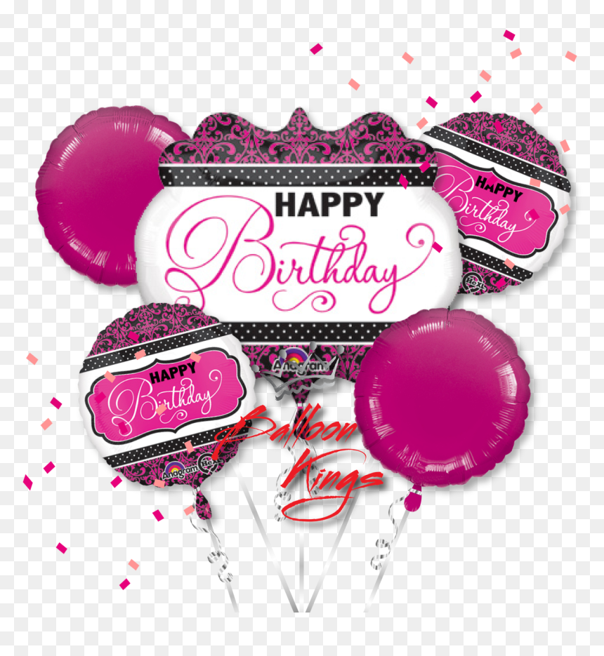 Black And Gold Balloons Png - Happy Birthday Pink Balloons Png, Transparent Png