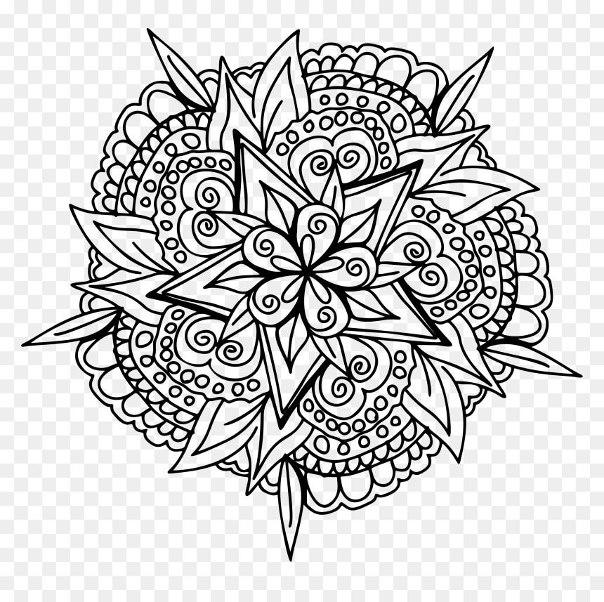 Hand Drawn Floral Line Art Clip Arts Gratuit Mandala A Imprimer Hd Png Download 2331x2215 Png Dlf Pt