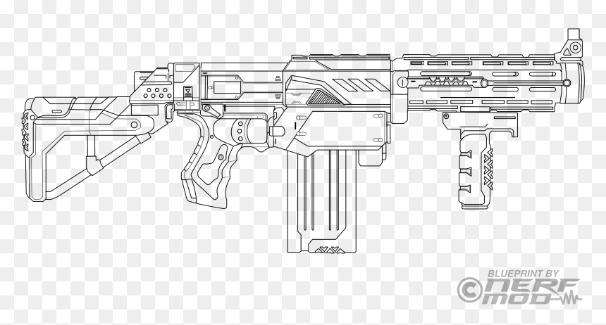 Drawn Sniper Nerf Gun - Nerf Gun Coloring Pages, HD Png Download -  3340x1641 PNG - DLF.PT