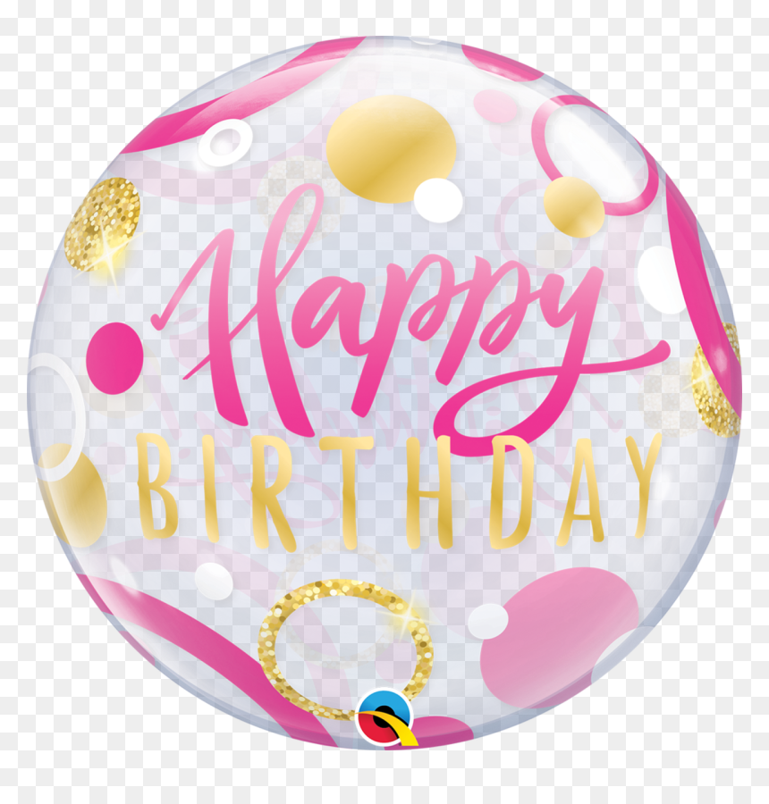 Bubble Happy Birthday Pink & Gold Dot Balloon, HD Png Download