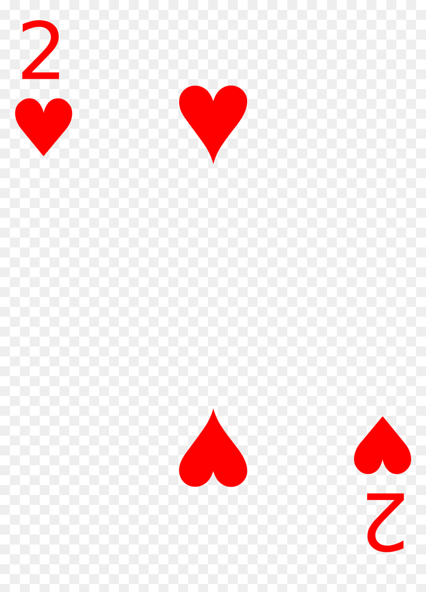Playing 2 Of Hearts Card, HD Png Download