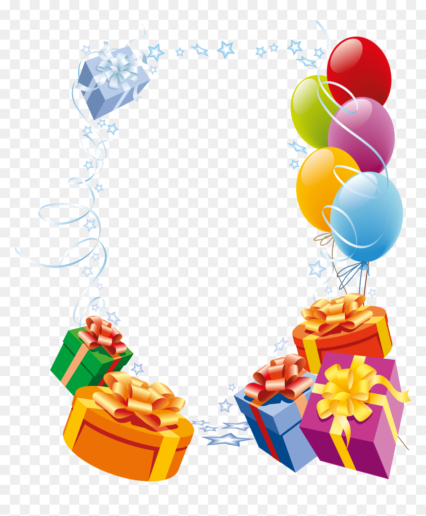 Gift Box Border Png - Happy Birthday Border Transparent, Png Download