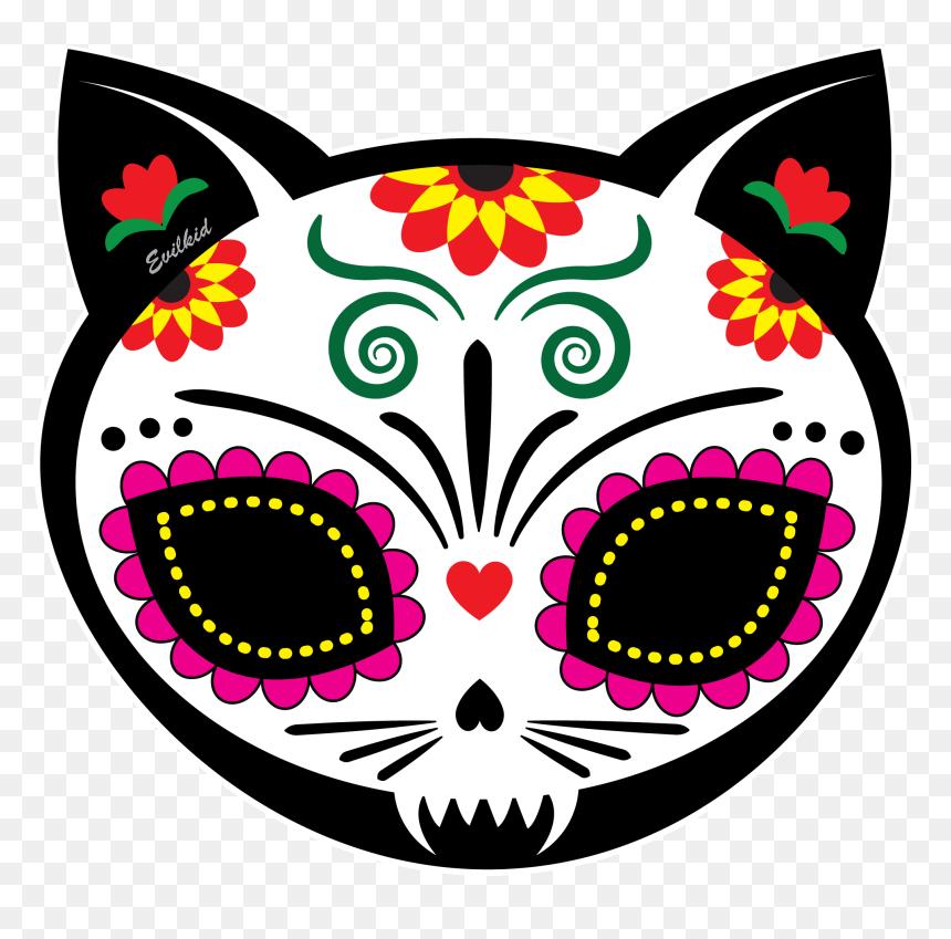 Dia De Los Muertos Cat Skull, HD Png Download