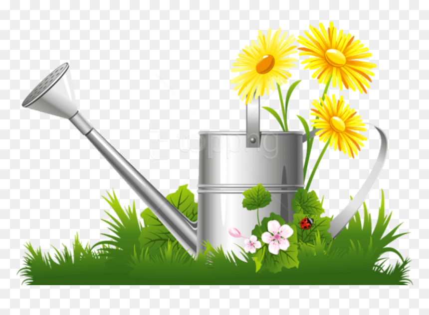 Free Png Spring Decoration With Water Can Grass And - March 12th Plant A Flower Day, Transparent Png