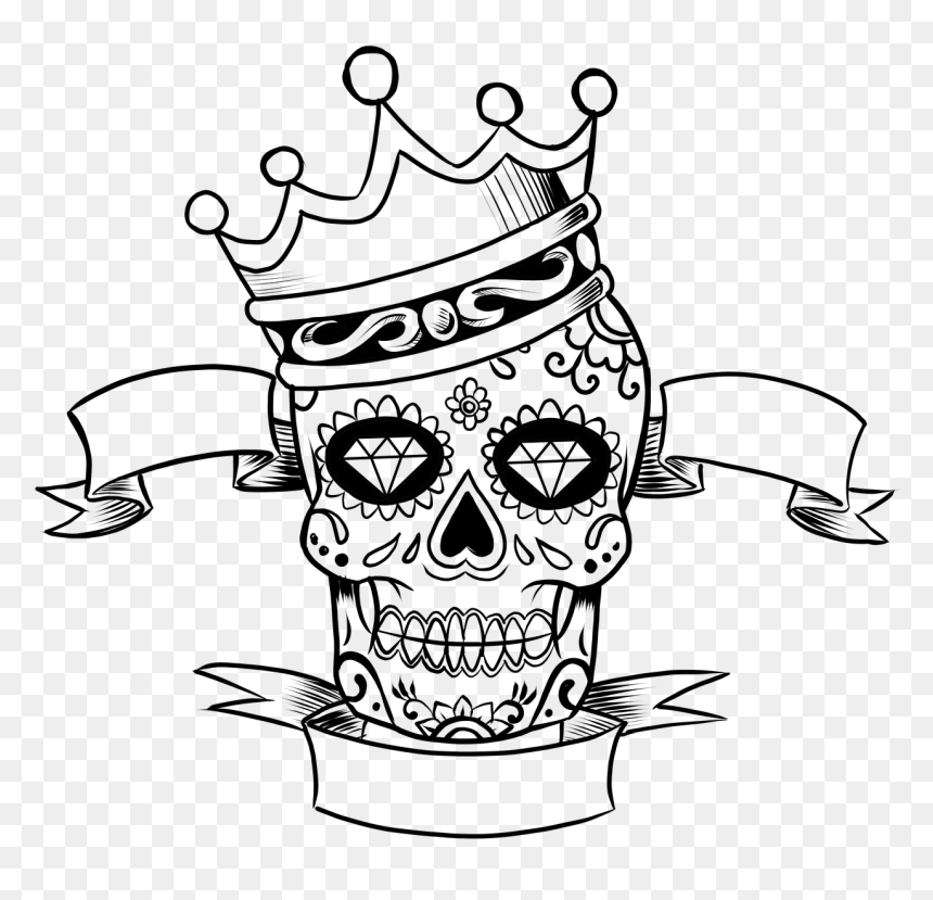 Day Of The Dead Skull With Crown, HD Png Download