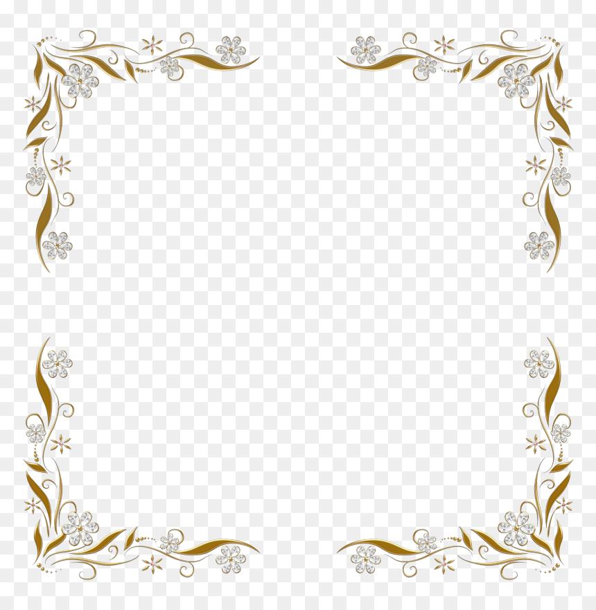 Gold Floral Border Png, Transparent Png