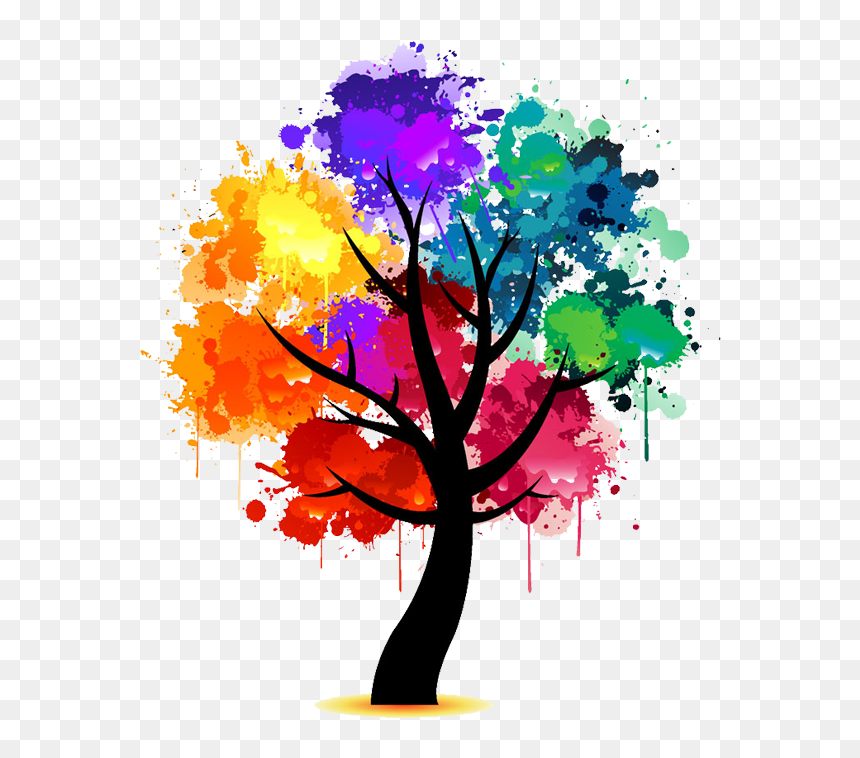 Rainbow Watercolor Tree , Png Download - Colorful Tree Clipart, Transparent Png