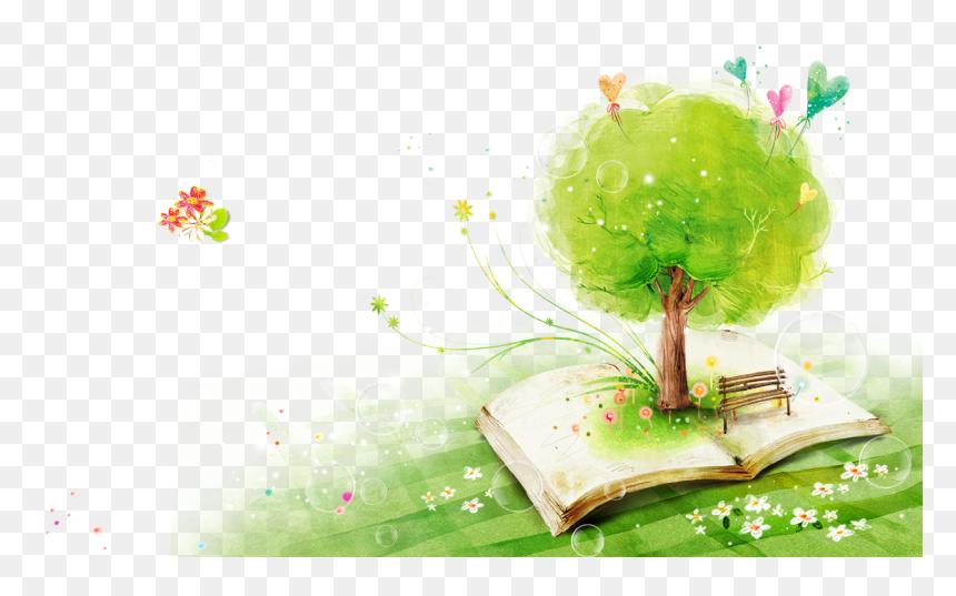 Para Principiantes Trees Watercolor Books Green In - Open Book Watercolour Clipart, HD Png Download