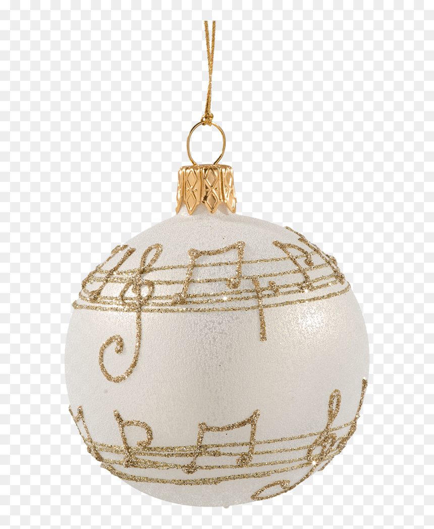 Glass Bauble Cream Colored With Musical Notes, 6 Cm - Notes De Musique Noel, HD Png Download