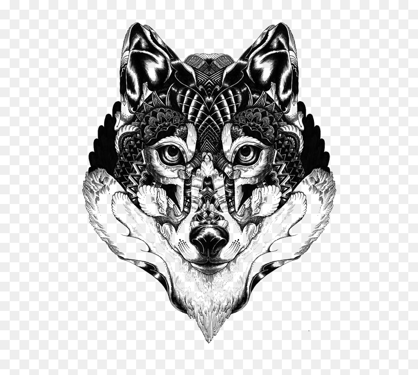 Wolf Day Of The Dead , Png Download - Wolf Tattoo Png, Transparent Png