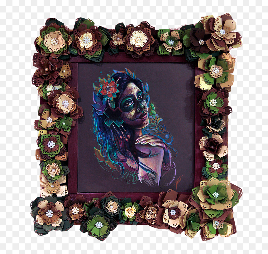 Day Of The Dead Girl Framed Original - Day Of The Dead Picture Frames Png, Transparent Png