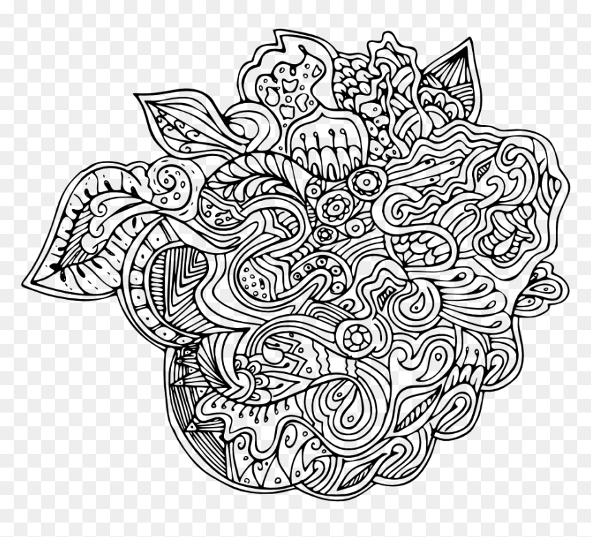 Mandala Art Abstract Hard Coloring Pages For Adults - Line Art, HD Png Download
