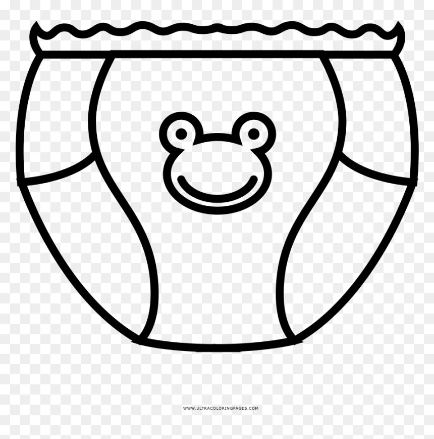Diaper Coloring Page , Png Download - Baby Diaper Coloring Page, Transparent Png