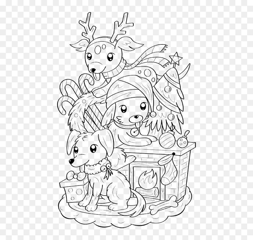 Christmas Dog Coloring Page - Dog Coloring Pages, HD Png Download