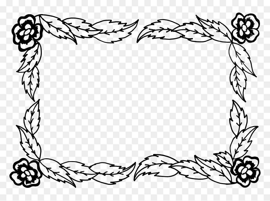 Floral Border Design Silhouette, HD Png Download