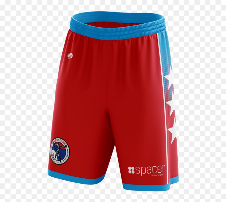 Red Stars Basketball Shorts - Board Short, HD Png Download