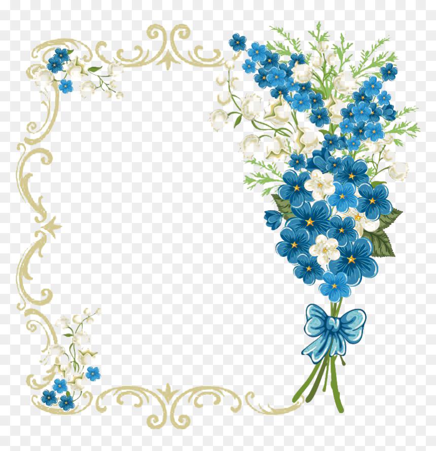 Vintage Floral Blue Frame Transparent Royal Blue Wedding Invitation Background Hd Png Download 860x910 Png Dlf Pt
