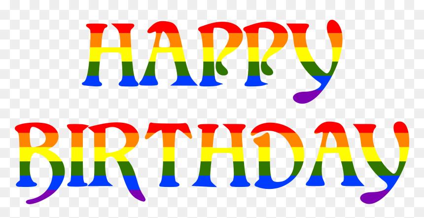 Happy Birthday Rainbow Typography 2 Clip Arts - Happy Birthday In Rainbow Colors, HD Png Download