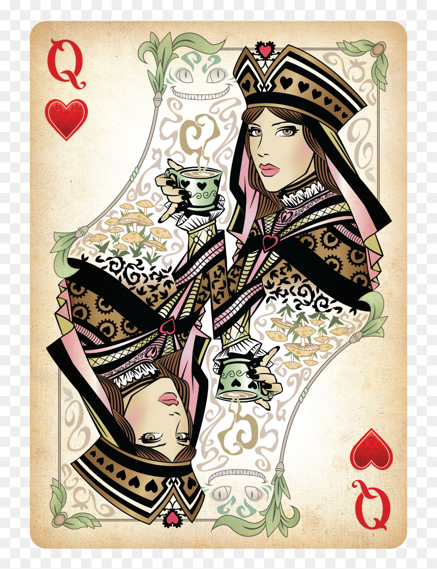 Queen Of Hearts Card Png - Deck Of Cards Queen Hearts Alice In Wonderland, Transparent Png