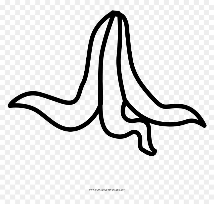 Banana Peel Coloring Page, HD Png Download