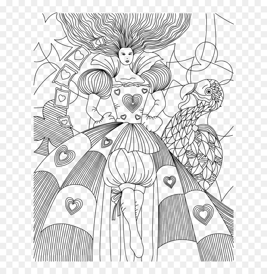 Queen Of Hearts - Coloring Page Queen Of Hearts, HD Png Download