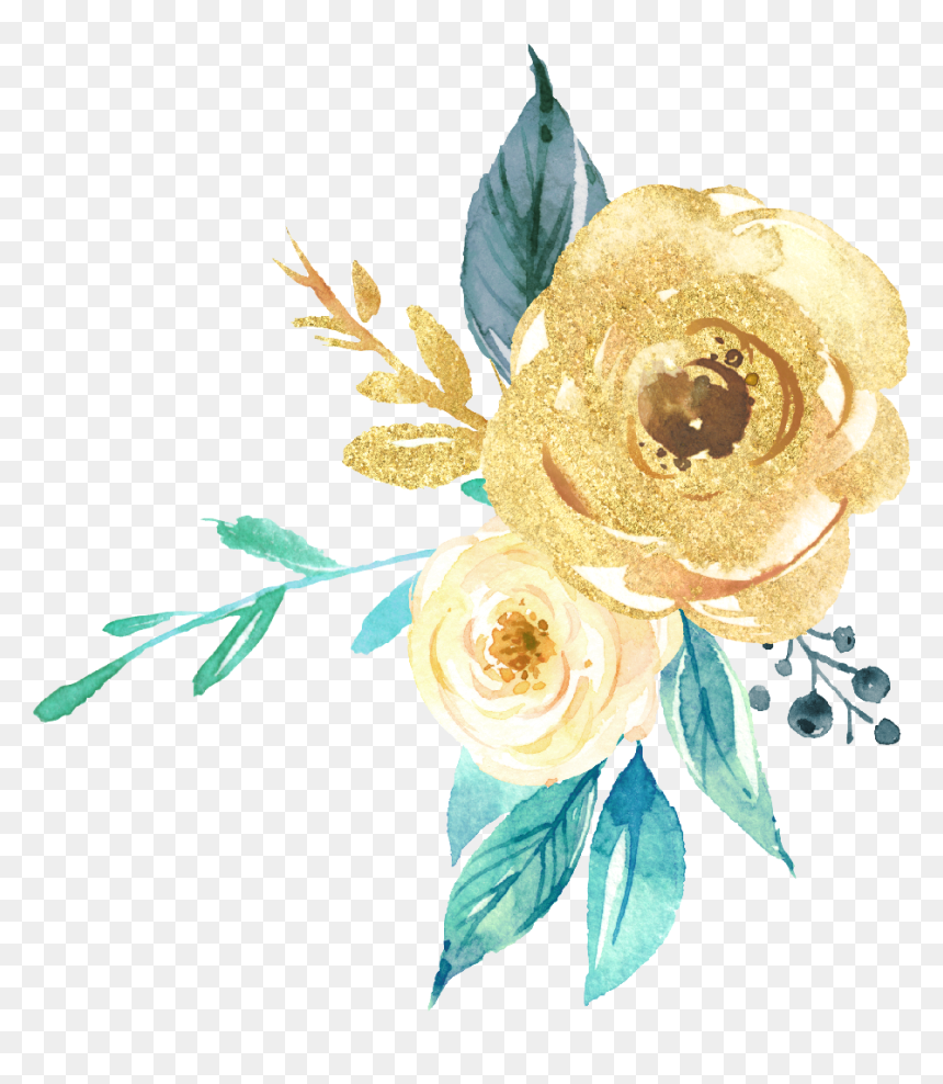 Freetoedit Gold Green Watercolor Glitter Flowers Flower - Gold Watercolor Flowers Png, Transparent Png
