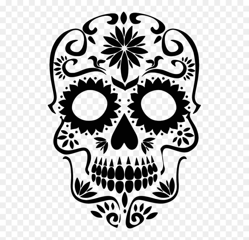 Sugar Skull Silhouette Png, Transparent Png