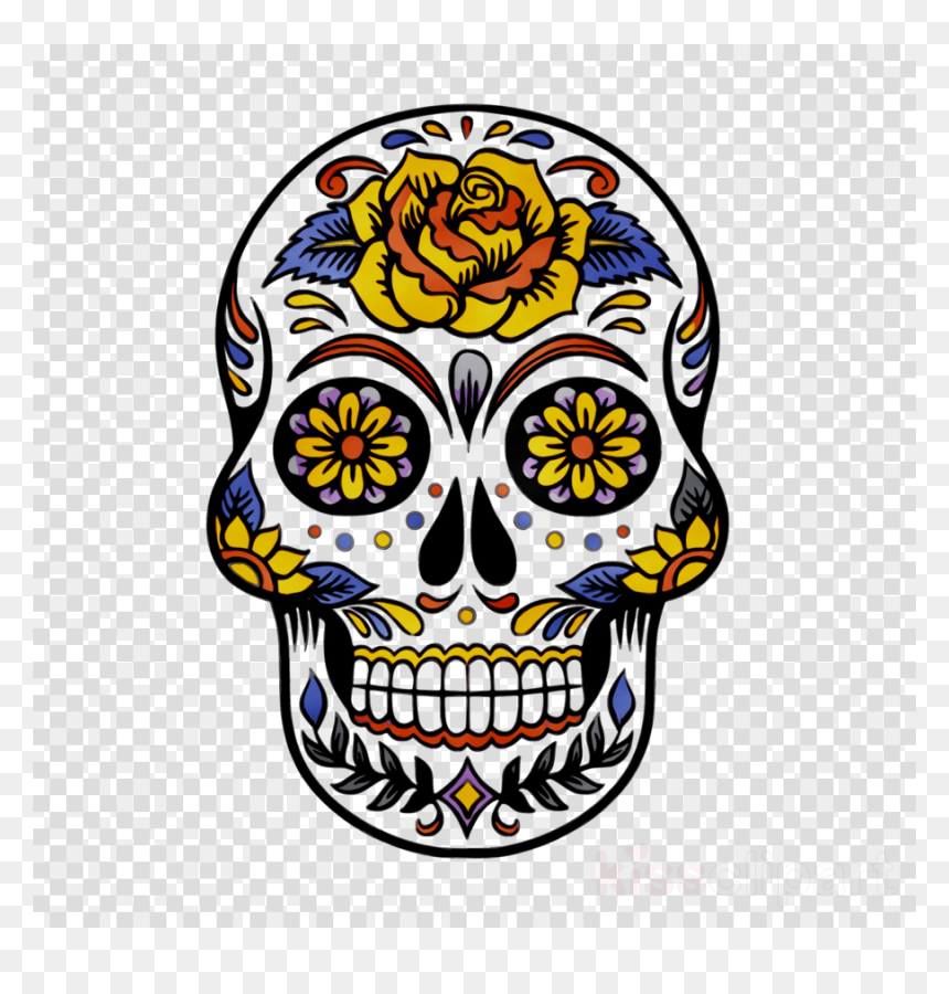 Day Of The Dead Skull Examples, HD Png Download