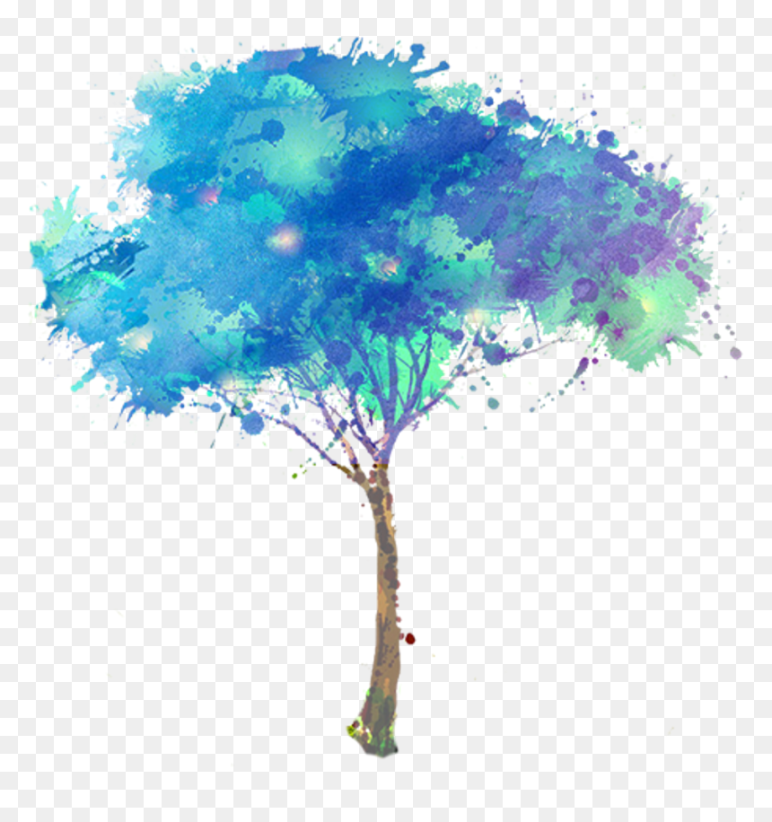 Png Watercolor Trees - Blue Watercolor Tree, Transparent Png
