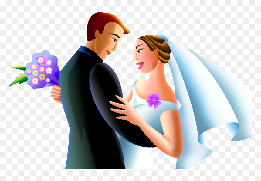 A Just Married Couple Came Home After The Luxurious - Жених И Невеста Пнг, HD Png Download