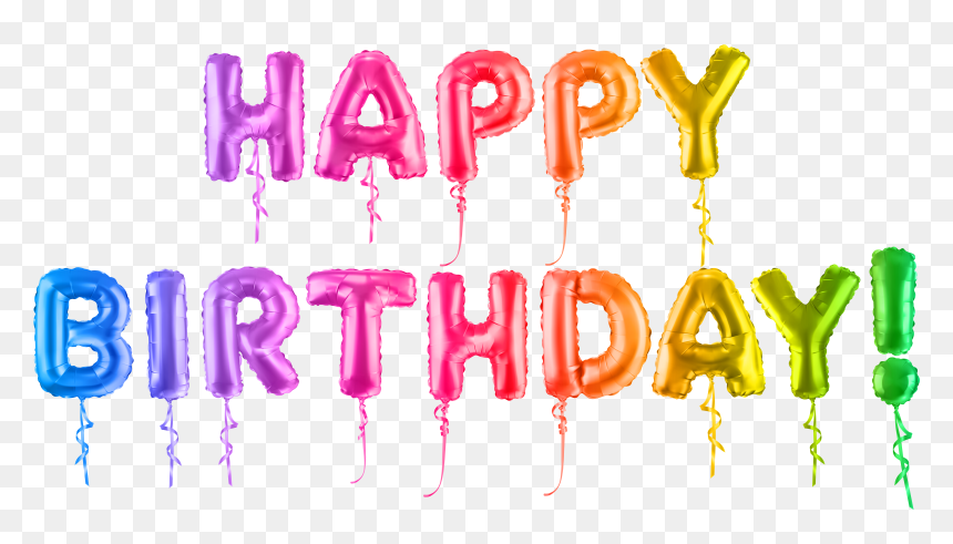 Happy Birthday Colorful Png - Happy Birthday Text Balloon, Transparent Png