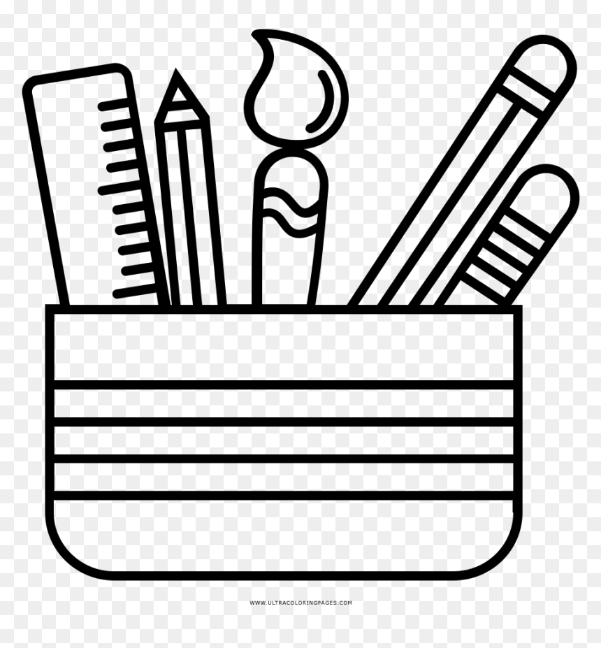 Pencil Cup Coloring Page, HD Png Download