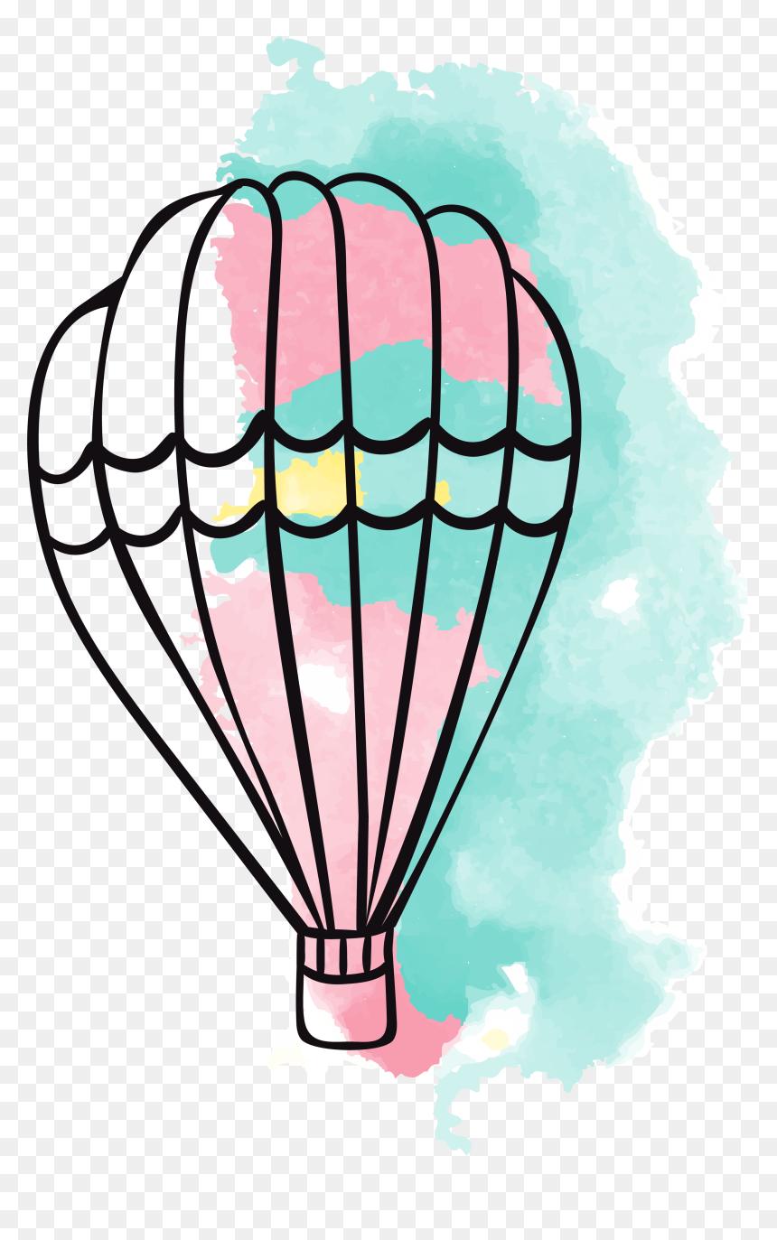 Banner Balloons Clipart Airplane - Watercolor Painting Hot Air Balloon Png, Transparent Png