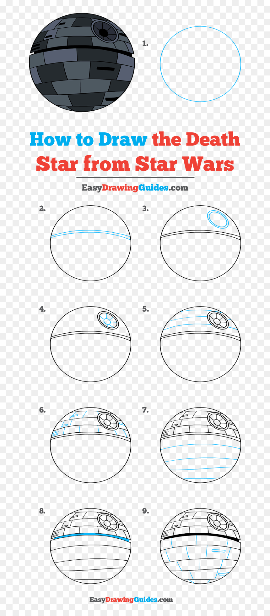 How To Draw The Death Star From Star Wars - Step By Step Easy Star Wars Drawing, HD Png Download