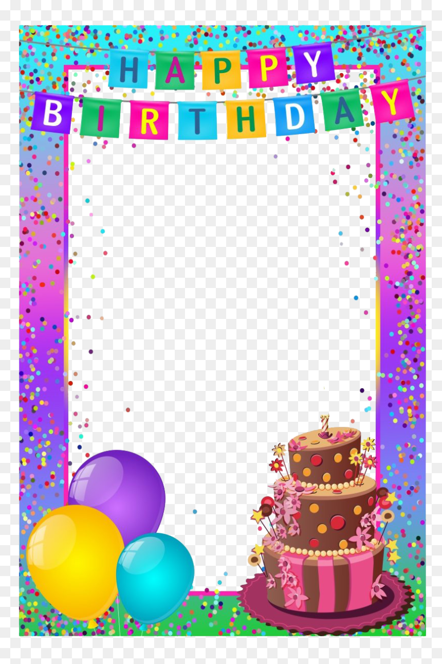 Birthday Frame Transparent Png - Happy Birthday Card Frame, Png Download