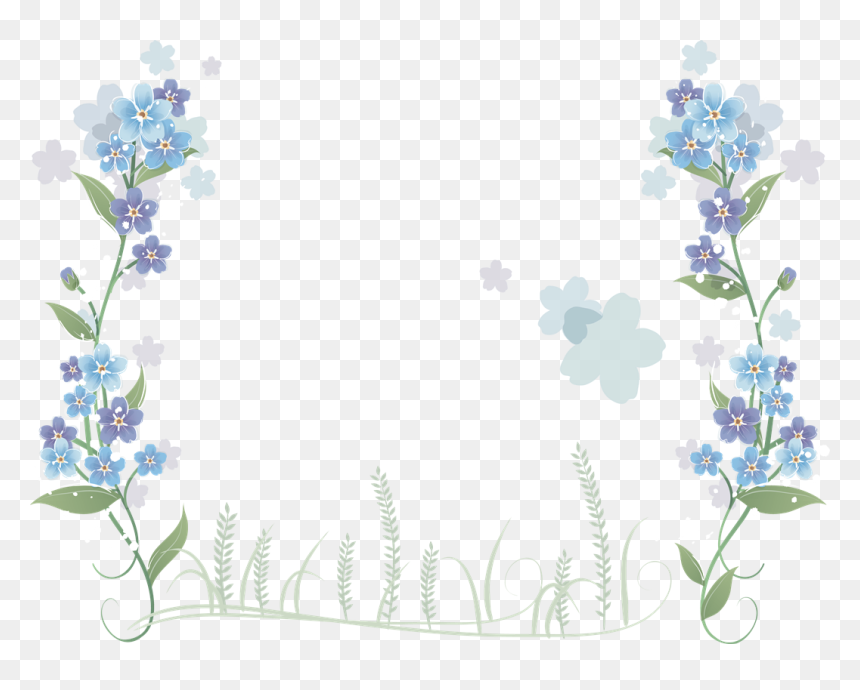 You Might Also Like - Clip Art Borders Blue Floral, HD Png Download