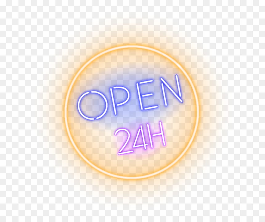 Neon Open 24 Hours Sign - Open 24 Hours Png, Transparent Png