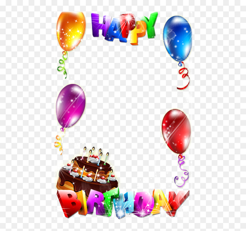 Birthday Cake Picture Frame Clip Art - Happy Birthday Photo Frame Download, HD Png Download