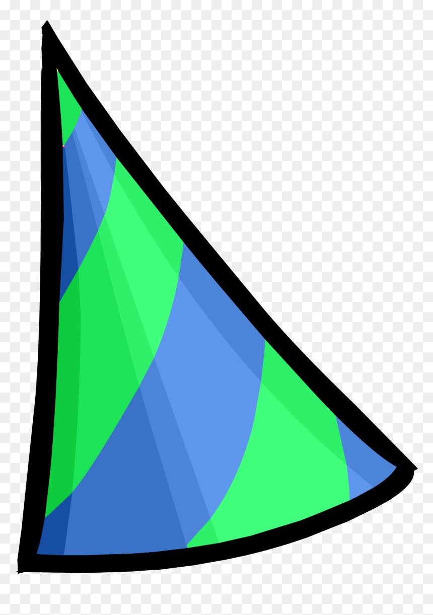 Club Penguin Wiki - Green And Blue Party Hat, HD Png Download