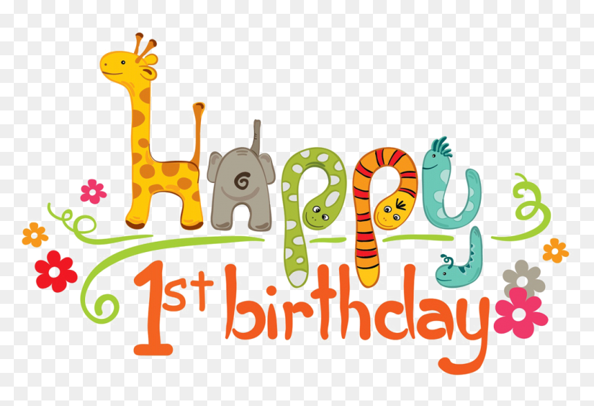 1st Birthday Png Transparent Image - Happy 1st Birthday Word, Png Download
