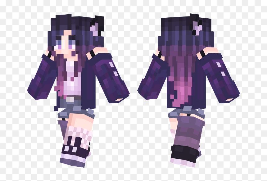 Purple Hair Wolf Girl Minecraft Skin, HD Png Download