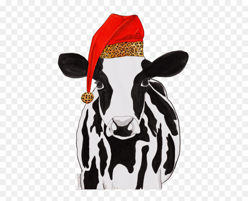Cow With Christmas Hat, HD Png Download