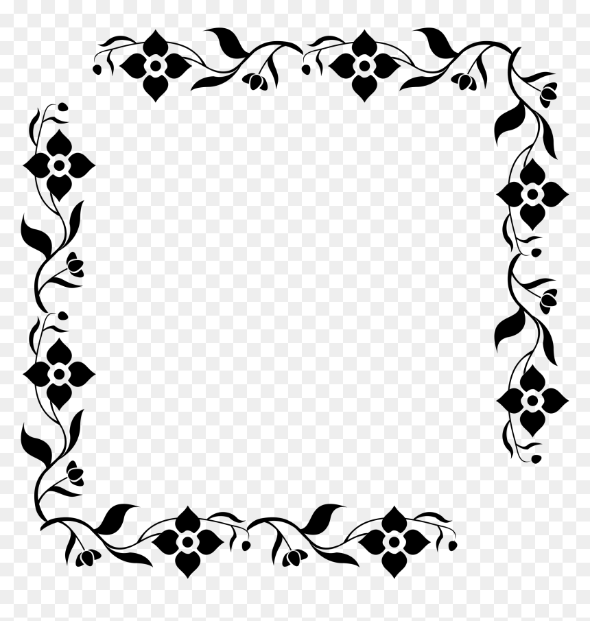 Flower Border Png Black And White, Transparent Png