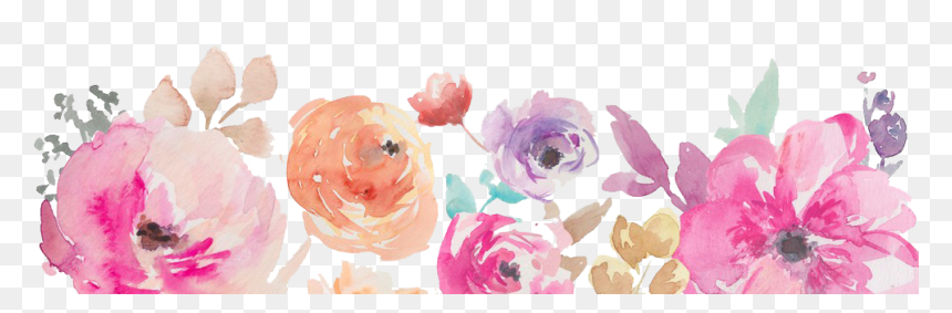 Watercolor Flowers Border Png, Transparent Png
